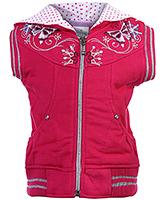 Babyhug Sleeveless Hooded Sweat Jacket - Embroidery Work