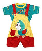 Babyhug Dungaree With Half Sleeves T-Shirt - Bird Patch