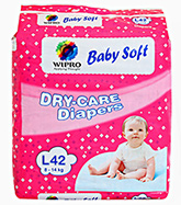 Wipro Baby Soft Dry Care Diapers Large - 42 Pieces