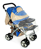 Fab N Funky Baby Pram With Mosquito Net - Coffee Brown And Blue
