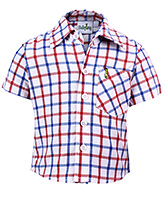 Babyhug Half Sleeves Shirt - Red And Blue Checks Print