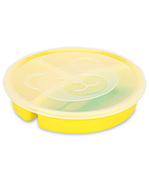 Littles 3 Section Divided Plate With Lid Fork And Spoon - Yellow