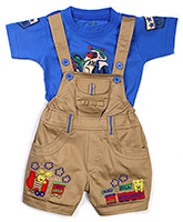 Babyhug Dungaree With Half Sleeves T-Shirt - Blue And Beige