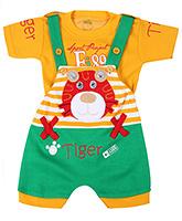 Babyhug Dungaree With Half Sleeves T-Shirt  -  Tiger Embroidery