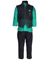 Babyhug Full Sleeves Kurta And Jodhpuri Pajama With Jacket - Studded Brooch