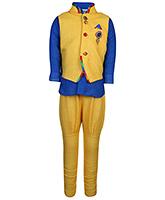 Babyhug Full Sleeves Kurta And Jodhpuri Pajama With Jacket - Yellow And Blue