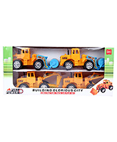 Fab N Funky Construction Truck Car Play Set Yellow And Blue - Set Of 4