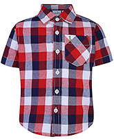 Babyhug Half  Sleeves Check Shirt - Red And Navy Blue