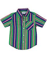 Babyhug Half Sleeves Shirt - Green And Blue