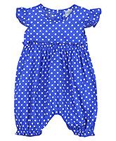 Babyhug Cap Sleeves Jumpsuit Polka Dot Print - Royal Blue