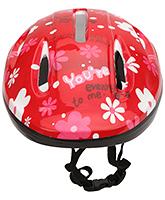 Fab N Funky Kids Helmet Red - Floral Print