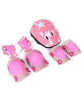 Fab N Funky Helmet With Knee Pad Set Pink - Star Print