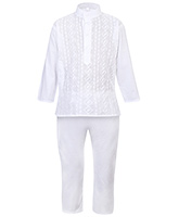 Babyhug Kurta And Pajama Set White - Chikan Embroidery