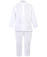 Babyhug Kurta And Pajama Set White - Chikankari Embroidery