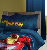 D'Decor - Iron Man Single Bed Sheet & One... Accessorize his room with bedsheet and pillow covers...