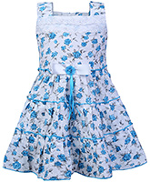 Babyhug Sleeveless Frock Blue And White - Floral Print