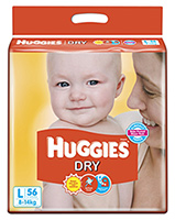 Huggies Dry Diapers Large - 56 Pieces