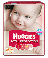 Huggies Total Protection Medium Diapers - 40 Pieces