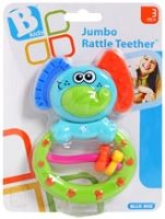 B - Kids Jumbo Rattle Teether 3 Months+, Colorful elephant shaped teething rattle