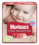 Huggies Total Protection Diapers Small - 46 Pieces