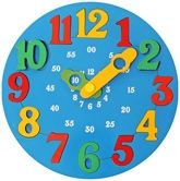 Little Genius - Wooden Time Learning Clock Blue