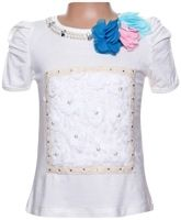 Half Sleeves Top With Flower And Pearl