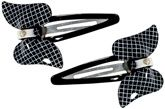 Big Bow Clips With White Checks Black