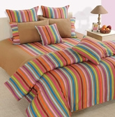 Swayam Linea Double Bed Sheet With 2 Pillow Cover - Multi Colored Strip