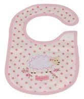 Bib - Pink Pink Color Baby Bib With Polka Dots On It