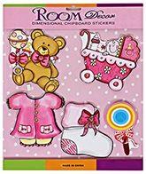 Dimensional Chipboard Room Decor Stickers Teddy Bear - Pink