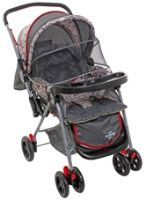 Grey With Red Linning Baby Pram Easy And Comfortable Pram For Your Baby
