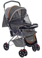 Three Position Designer Baby Pram With Net A Complete Travel System - Soft Blue And Grey Colour...