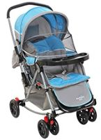 3 Position Designer Baby Pram With Net Soft Blue And Grey Colour Baby Pram With Net And Bot...