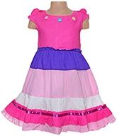 Exclusive Short Sleeves Colourful Party Frock With A Layered Pattern