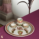 Aapnorajasthan - Marble Shagun Thali With Gold Work