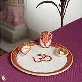 OM Marble Thali with Emboss Work