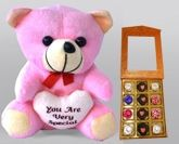 Assorted Chocolate Pack Valentine Teddy - Pink With White Heart (Set of 2)