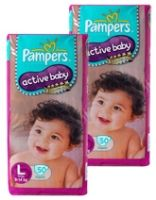 Pampers - Active Baby Diapers L (9 - 14 Kg) 50 diapers (Combo Pack of 2)