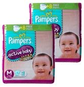 Pampers - Active Baby Diapers M (6 - 11 Kg), 82 Pieces + 8 Pieces free (Combo pack of 2)
