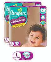 Pampers - Active Baby Diapers L (9 - 14 Kg), 72 + 6 free pads (Combo pack of 2)