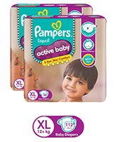 Pampers - Active Baby Diapers XL , 12 Kg+, 52 + 4 pcs Free (Combo pack of 2)