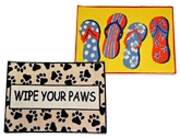 United Floor Door Mats - Cute Slippers and Leafy Block (Set of 2)