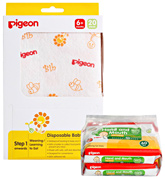 Combo pack of Disposable Baby Bibs & Hand/Mouth Wipes (Combo pack of 2)