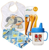 Combo pack of Cup,Bib,Weaning Spoons &  Dry Robe(Pack of 4)