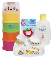 Combo pack of  Water Filled Teether,Baby, Top-to-Toe Wash, Milk Container & Tableware Set (Pack of 4)