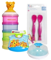 Combo pack of Soft Spoon,Milk Powder Container,Feeding Bib &amp; Sterilization Set (Pack of 4)