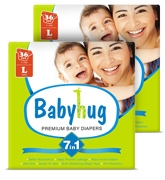 Baby Hug - 7 In 1 Premium Baby Diapers Large, 9 - 14 Kgs, 36 Pieces (Combo Pack Of 2)