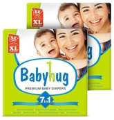 Baby Hug - 7 in 1 Premium Baby Diapers Extra Large, 12 Kg and above, 32 Pieces (Combo Pack of 2)