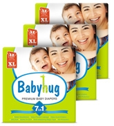 Baby Hug - 7 In 1 Premium Baby Diapers Extra Large, 12 Kg And Above, 32 Pieces (Combo Pack Of 3)
