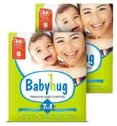 Baby Hug - 7 In 1 Premium Baby Diapers Small, Upto 8 Kgs, 30 Pieces (Combo Pack Of 2)